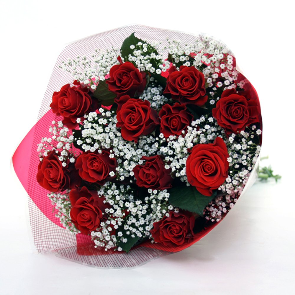 Send flowers philippines romantic 12 red rose bouquet for Images of bouquets of roses