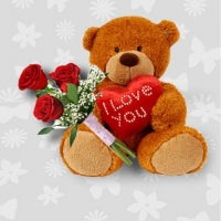 3 PCS. RED ROSES W/ TEDDY BEAR