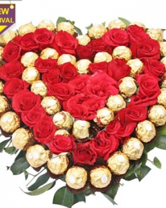 36 red roses and 40 pcs ferrero rocher