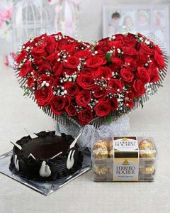 50 Red heart Basket + 1/2 Kg Chocolate Cake + ferrero 200g