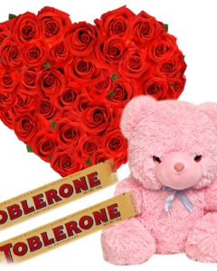 24 Red Roses + 2 Toblerone Chocolate Bars ,100 each + Teddy Bear 24