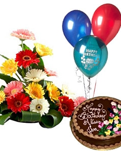 20 mixed gerberas ,1 kg chocolate cake and 3 ballooons