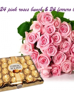 24 roses bunch w/24 ferrero