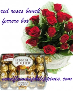 12 Red Roses w/30 ferrero box