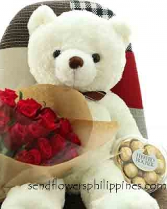 2ft white teddy , ferrero heart w/ 12 red roses bunch