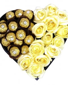 16 ferrero & 12 yellow roses in a heart box