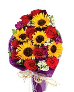Sunflowers, red roses and alstroemeria in hand tied bouquet