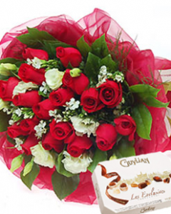 24 Red Roses & Guylian Chocolate