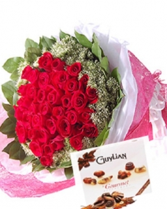 36 Red Roses & Guylian Chocolate
