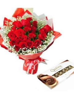 12 Red Roses & Guylian Chocolate