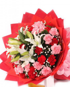 Red And Pink Carnations With Lilies Bouquet