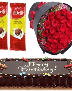 24 red bunch , chocolate cake & 2 delfi bar