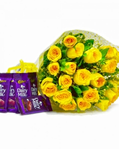 24 yellow roses bunch with cadbury