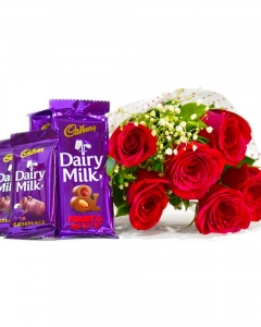 Bouquet of 6 Red Roses of with 6 Assorted Bars of Cadbury Dairy