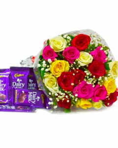 Bunch of 18 Colourful Roses with 5 Cadbury  Chocolates
