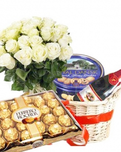 Christmas -  white Roses,cookies & juice