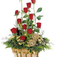 2 dozen long stem Flowers basket